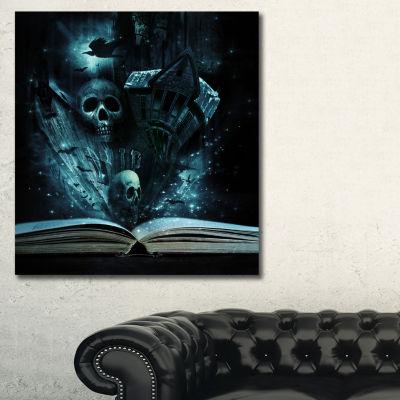 Designart Halloween Stories Book Contemporary Canvas Art Print - 3 Panels