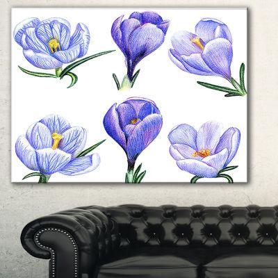 Designart Hand Drawn Crocuses Floral Painting Canvas - 3 Panels