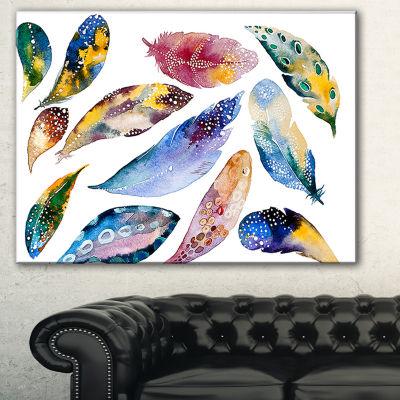 Designart Hand Drawn Feather Set Watercolor CanvasArt Print
