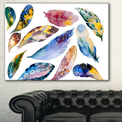 Designart Hand Drawn Feather Set Watercolor CanvasArt Print - 3 Panels