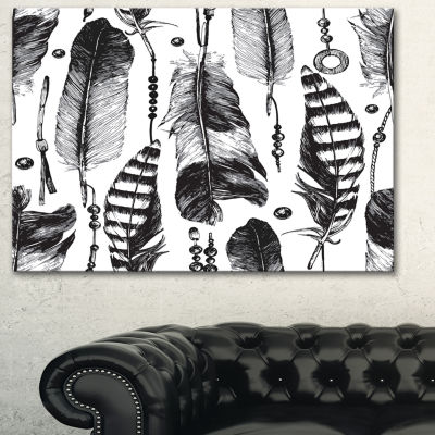 Designart Hand Drawn Feathers Abstract Canvas Artwork - 3 Panels