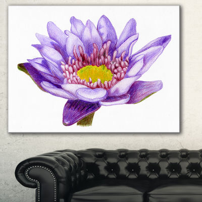 Designart Hand Drawn Purple Lotus Floral Art Canvas Print - 3 Panels