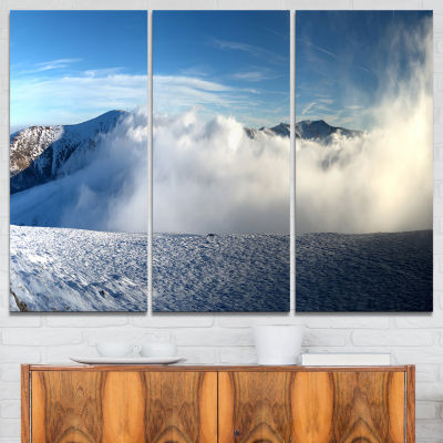 Designart Beautiful Winter Landscape Photography Canvas Art Print - 3 Panels