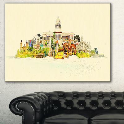 Designart Havana Panoramic View Cityscape Watercolor Canvas Print