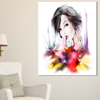 Designart Beautiful Woman With Black Hair AbstractPortrait Canvas Print