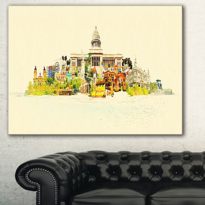 Designart Havana Panoramic View Cityscape Watercolor Canvas Print - 3 Panels