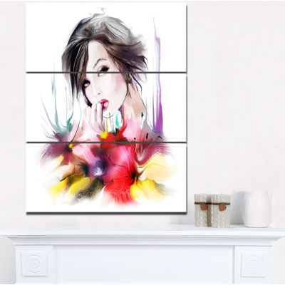 Designart Beautiful Woman With Black Hair AbstractPortrait Canvas Print - 3 Panels