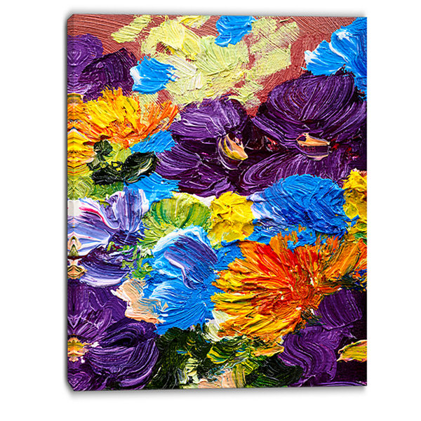 Designart Heavily Textured Abstract Flowers Abstract Canvas Print