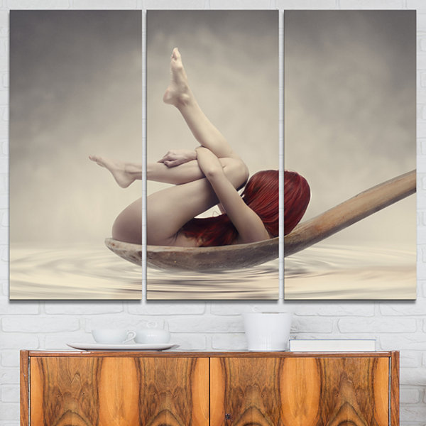 Designart Beauty Bath Contemporary Canvas Art Print - 3 Panels