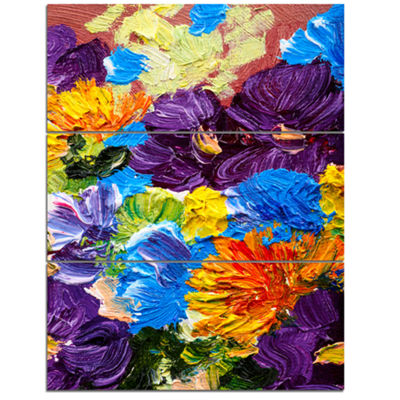 Designart Heavily Textured Abstract Flowers Abstract Canvas Print - 3 Panels