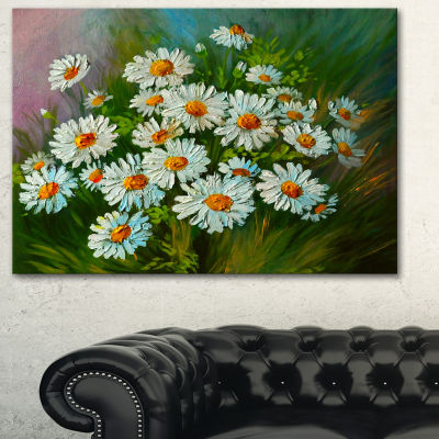 Designart Heavily Textured Daisies Art Floral ArtCanvas Print