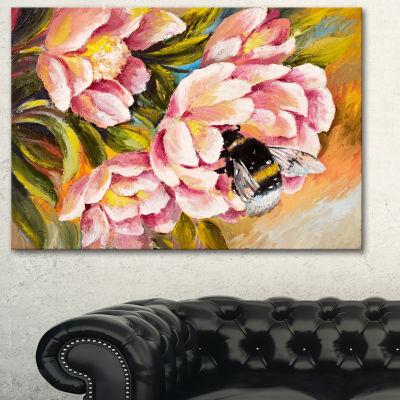 Designart Bee Sitting On Flower Floral Art CanvasPrint - 3 Panels