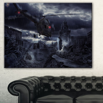 Designart Helicopter Over Storm Ruined City Photography Canvas Art Print