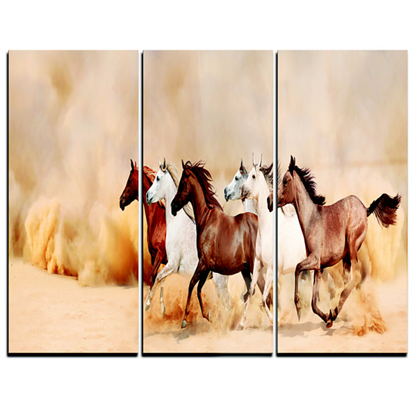 Designart Herd Gallops In Sand Storm Landscape Photography Canvas Art Print - 3 Panels