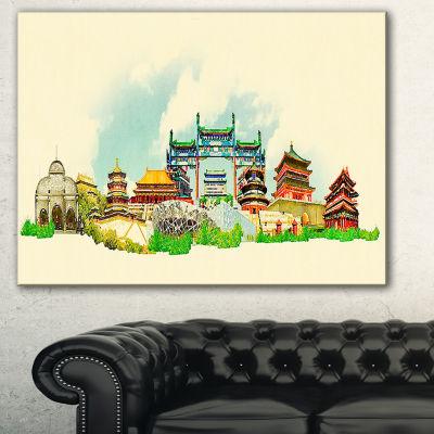 Designart Beijing Panoramic View Cityscape Watercolor Canvas Print - 3 Panels