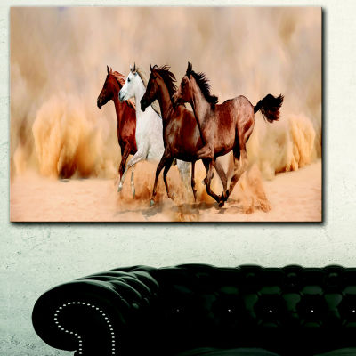 Designart Herd Gallops In Sand Storm Landscape Photography Canvas Print