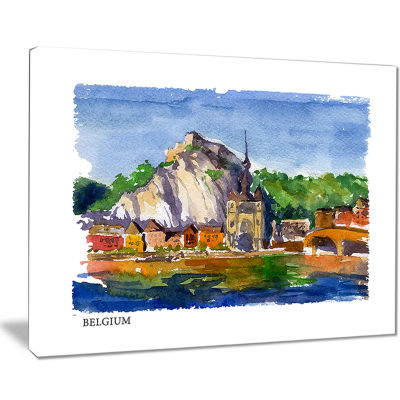 Designart Belgium Vector Illustration Cityscape Painting Canvas Print