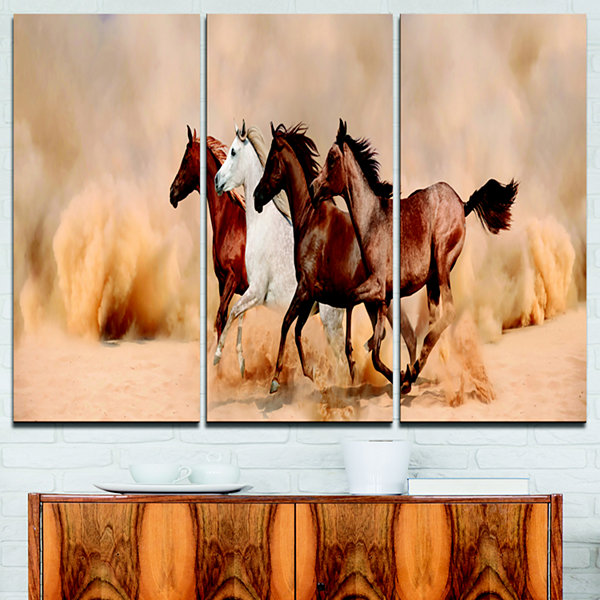 Designart Herd Gallops In Sand Storm Landscape Photography Canvas Print - 3 Panels