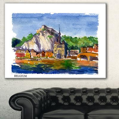 Designart Belgium Vector Illustration Cityscape Painting Canvas Print - 3 Panels