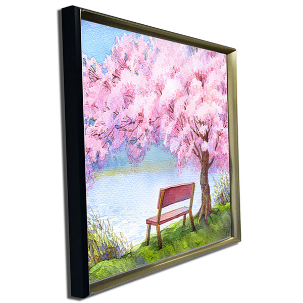 Designart Bench Under Flowering Peach Tree FloralArt Canvas Print
