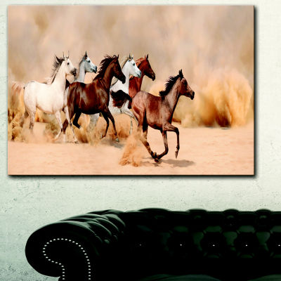 Designart Herd Gallops In Sand Storm PhotographyCanvas Art Print - 3 Panels