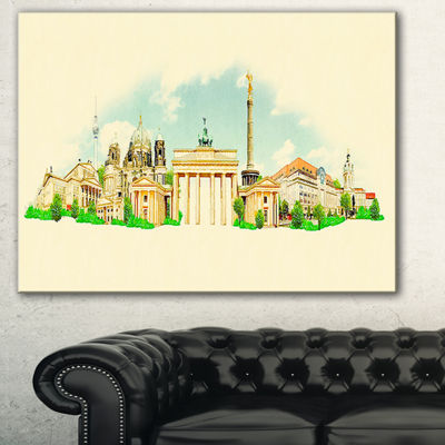 Designart Berlin Panoramic View Cityscape Watercolor Canvas Print - 3 Panels