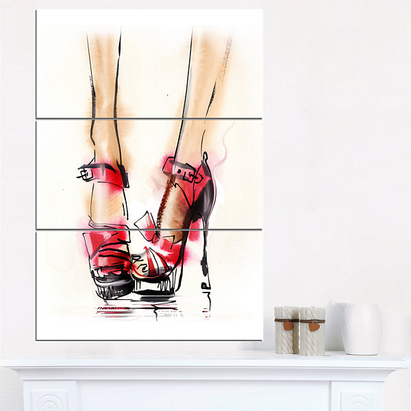 Designart High Heel Fashion Shoes Abstract CanvasArt Print - 3 Panels