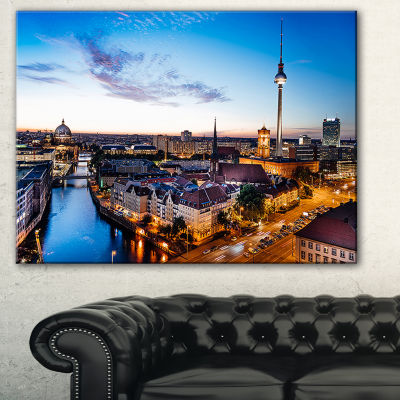 Designart Berlin Sunset Panorama Cityscape PhotoCanvas Art Print