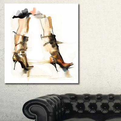 Designart High Heel Shoes Abstract Canvas Art Print - 3 Panels