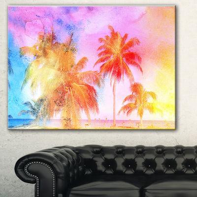 Designart High Rise Retro Palm Trees Landscape Painting Canvas Print