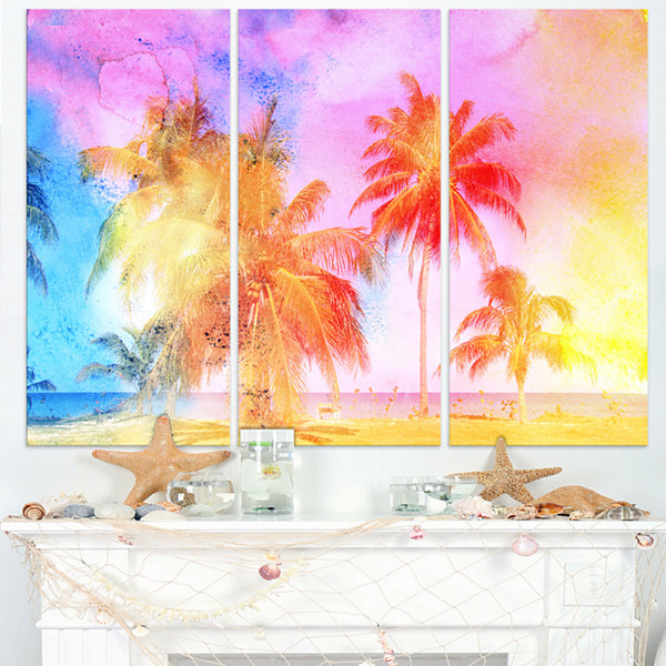 Designart High Rise Retro Palm Trees Landscape Painting Canvas Print - 3 Panels