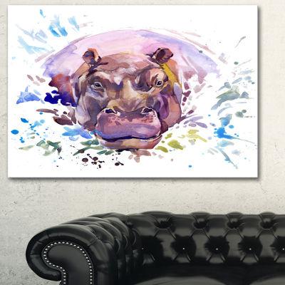 Designart Hippopotamus Watercolor Animal Art Painting