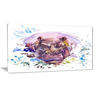 Designart Hippopotamus Watercolor Animal Art Painting