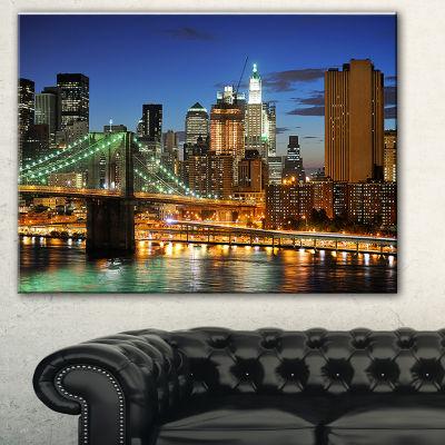 Designart Big Apple After Sunset Cityscape PhotoCanvas Print - 3 Panels