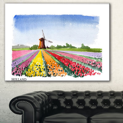 Designart Holland Vector Illustration Cityscape Painting Canvas Print - 3 Panels