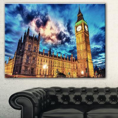 Designart Big Ben Uk And House Of Parliament Cityscape Photo Canvas Print