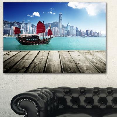 Designart Hong Kong Harbor Photography Canvas ArtPrint - 3 Panels