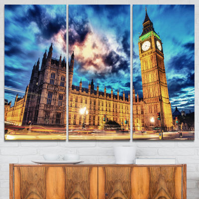 Designart Big Ben Uk And House Of Parliament Cityscape Photo Canvas Print - 3 Panels