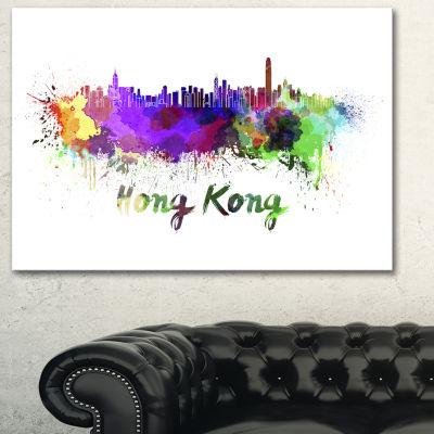 Designart Hong Kong Skyline Cityscape Canvas Artwork Print - 3 Panels