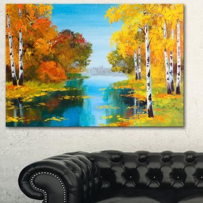 Designart Birch Forest Near The River Landscape Art Print Canvas - 3 Panels