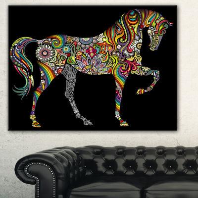 Designart Horse And Rainbow Animal Canvas Art Print