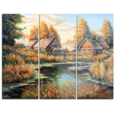 Designart Birches In Autumn Village Landscape ArtPrint Canvas - 3 Panels