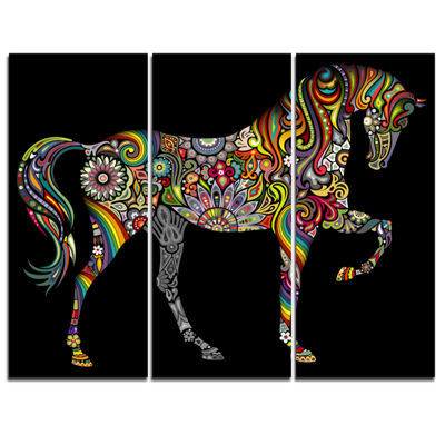Designart Horse And Rainbow Animal Canvas Art Print - 3 Panels