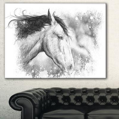 Designart Horse Tattoo Art Animal Canvas Art Print- 3 Panels