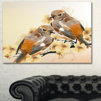 Designart Bird Couple On A Branch Animal Art On Canvas - 3 Panels