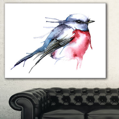 Design Art Bird In Blue And Red Watercolor AnimalCanvas Art Print - 3 Panels
