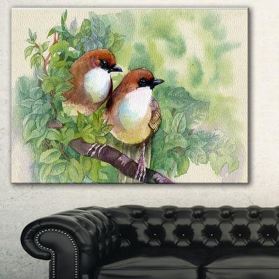 Designart Birds Of Spring Modern Animal PaintingCanvas Print