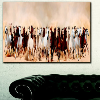 Designart Horses Herd In Sand Storm Landscape Photography Canvas Art Print