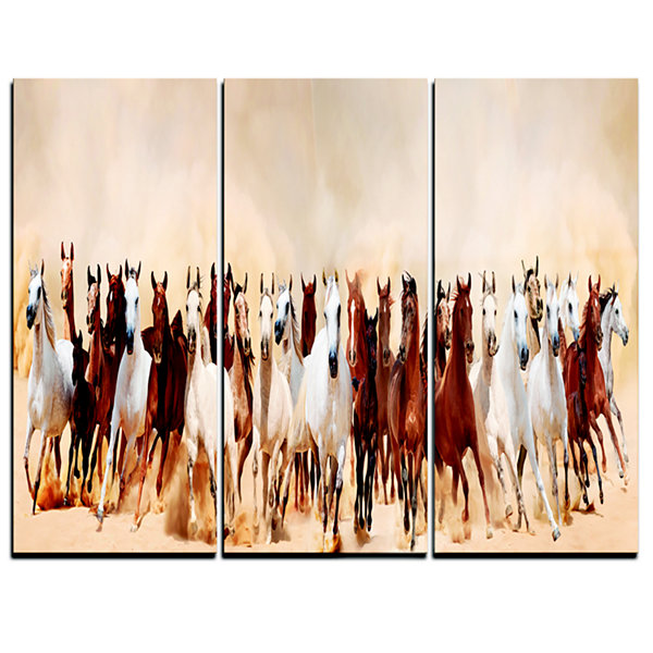 Designart Horses Herd In Sand Storm Landscape Photography Canvas Art Print - 3 Panels