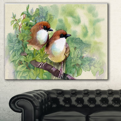 Designart Birds Of Spring Modern Animal Painting Canvas Print - 3 Panels